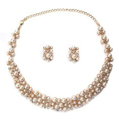 Pearl and Gold CZ Necklace Set  http://www.inspiredsilver.com/ #InspiredSilver #Necklace #Goldjewelry  #Jewelry
