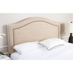 A natural for the transitional or contemporary bedroom, the Raleigh Linen Headboard from Abbyson Living combines a cool, woven fabric with metal nail head trim. The curved topline adds a touch of romance. California King Headboard, Linen Headboard, Upholstered Headboards, Nailhead Trim, Contemporary Bedroom, Bed Frame, Bedroom Furniture, Kitchen Furniture, Bedroom Decor