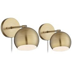 Selena Wall Lights LED Plug in Set of 2 Brass Sphere Shade Pin Up for Bedroom Living Room Reading - 360 Lighting Led Wall Lamp, Wall Sconces, Bedroom Sconces, Hanging Lamps, Selena, Light Bulb Wattage, Mid Century Lighting, Unique Lamps, Lamp Sets