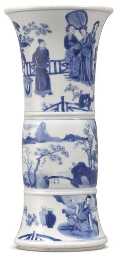 A BLUE AND WHITE BEAKER VASE QING DYNASTY, KANGXI PERIOD