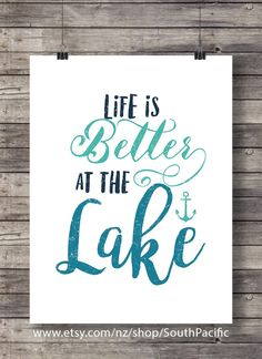 Life is better at the lake print | typography calligraphy | teal and mint | Anchor nautical beach | Printable wall art - digital print