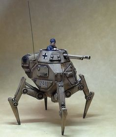 An awesome looking piece and you can already see how this is going to fit in well with the existing Bolt Action range. I like that it retains a lot of the . Battle Robots, Sci Fi Models, Sci Fi Armor, Robot Concept Art, Pulp, Starter Set, Toy Soldiers, Panzer, Retro Futurism