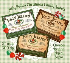 Christmas Vintage Candy Label Digital Download Printable Tag Clip Art Collage Sheet - INSTANT DOWNLOAD