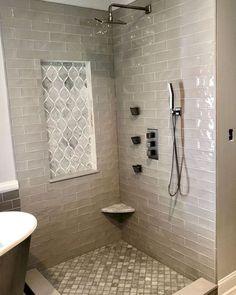 Bathroom decor for the bathroom renovation. Discover master bathroom organization, bathroom decor suggestions, master bathroom tile suggestions, master bathroom paint colors, and much more. Bathroom Grey, Master Bathroom Shower, Bathroom Interior, Bathroom Showers, Bathroom Canvas, Bathroom Mirrors, Simple Bathroom, Tiled Showers, Shiplap Bathroom