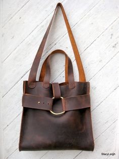 Mustang Oiled Cowhide Leather Rustic Harness Tote or Shoulder Bag by Stacy Leigh. Hello, lover...
