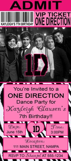 Pink/Zebra ONE DIRECTION Birthday Invitation!! My daughter LOVED her One Direction party!!