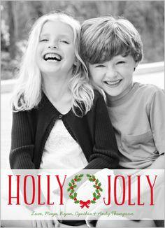 Holly Jolly Wreath Christmas Card