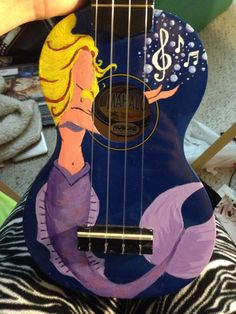 Mermaid ukulele If you'd like a personalized uke, send me a message (: Painted Ukulele, Ukulele Design, Ukulele Art, Sorority Big Little, Unicorns And Mermaids, Guitar Painting, Beautiful Guitars, Creative Outlet, Cool Guitar