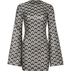 Rental Rubin Singer Metallic Hexagon Print Dress (€180) ❤ liked on Polyvore featuring dresses, long bell sleeve dress, geometric pattern dress, metallic jacquard dress, bell sleeve dress and crew neck dress