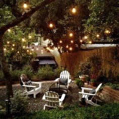 Outdoor patio string lights can be purchased at an affordable price. Most of patio string lights have the same basic design but it is in the coverings that they differ. Backyard Patio, Backyard Landscaping, Backyard Seating, Backyard Projects, Backyard Ideas, Outdoor Seating, Patio Ideas, Desert Backyard, Gravel Patio