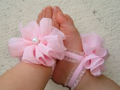 Baby Barefoot Sandals Light Pink Ruffle Piggy Petals Baby Accessories Toe Blooms - Photo Props - Baby Shoes - Toddler Shoes - Newborn Shoes on Etsy, $6.45