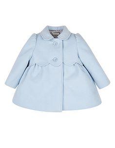 Baby Sally Scalloped Coat | Blue | Monsoon