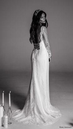 rime arodaky fall 2017 bridal long sleeves illusion scoop neckline full embellishment lace elegant sheath wedding dress with pockets low back strap sweep train (1) bv