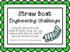Engineering Challenge:Using ten straws and ten inches of plastic wrap, can you make a boat that can hold 25 pennies without sinking?Materials Needed (per student):10 straws10 inches of plastic wrap3 inch strip of duct tape25 penniestub of waterThis packet contains all the information you need to make this a great engineering activity in your classroom!