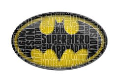 Personalised Birthday Batman Logo Marvel DC Comic Children Boys word art Gift