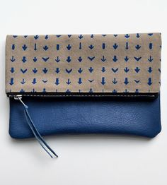 Arrows Leather & Canvas Clutch | Keep your essentials safely stowed and easily accessible with ... | Clutches & Special Occasion Bags