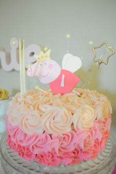 pink ombre cake, Poupette's birthday peppa pig, 2 years