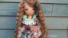 Купить Ксюша - мятный, кукла ручной работы, коллекционная кукла, авторская кукла, интерьерная кукла