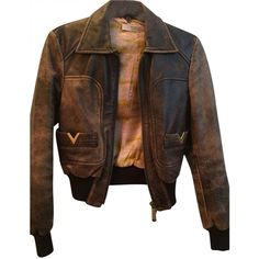Pre-owned Red Valentino Distressed Aviator Brown Leather Bomber Jacket (455 AUD) ❤ liked on Polyvore