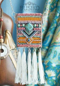 Beaded fringe tassel necklace boho style Dainty choker beads Gypsy pendant Embroidered women a Tassel Jewelry, Textile Jewelry, Fabric Jewelry, Beaded Jewelry, Handmade Jewelry, Ethnic Jewelry, Jewellery, Gypsy Jewelry, Colar Boho