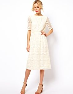 Image 2 of ASOS Midi Dress In Lace With Wrap Back