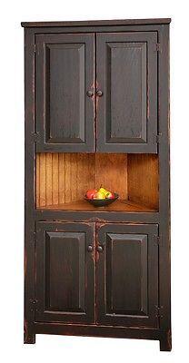 Primitive Rustic Corner Cabinet Pantry Country Kitchen Cottage Furniture Wood | eBay