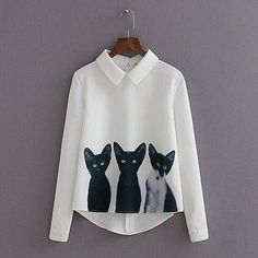 Fabric Type: ChiffonMaterial: PolyesterCollar: Turn-downSleeve Length: Full