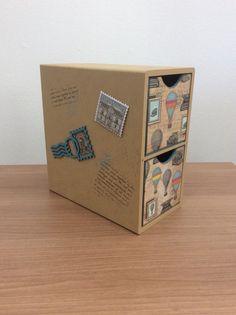 Mini gaveteiro Selos e Carimbos   Artes da F@bi   Elo7