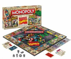 If you like comics and Monopoly is old hat, how about Marvel Monopoly? Each property is an iconic cover (Park Place is & Fantasy& Game tokens represent Marvel weaponry (the hat is Magneto& helmet). More expensive than regular Monopoly, but you& a fanboy! Marvel Comics, Marvel Comic Books, Marvel Funny, Marvel Characters, Marvel Avengers, Monopoly Board, Monopoly Game, Monopoly Pieces, Batman