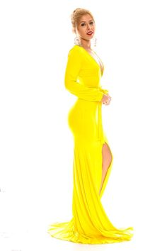 YELLOW LONG SLEEVE LOW FRONT SLIT LONG MAXI DRESS,Sexy Maxi Dresses-Sexi Maxi Dresses,Sexy Long Dresses,Chiffon Maxi Dress,Long Maxi Dresses,Long Sleeve Maxi Dress,White Maxi Dress,Floral Maxi Dresses,Sexy Black Maxi Dress,Mermaid Maxi Dress,Two Piece Maxi Dress,Off The Shoulder Maxi Dress