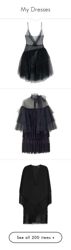 """My Dresses"" by nguyen-huynh-khanh-thy ❤ liked on Polyvore featuring dresses, robe, vestidos, blue color dress, blue dresses, black, deep v neck dress, fringe dress, zip back dress and back zipper dress"