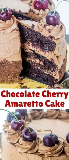 Layers of chocolate and cherries with subtle almond flavors make up this luscious Chocolate Cherry Amaretto Cake, your her face chocolate cake recipe. Best Cake Recipes, Sweet Recipes, Dessert Recipes, Yummy Recipes, Chocolate Desserts, Chocolate Cake, Pastry Recipes, Baking Recipes, Bonbon