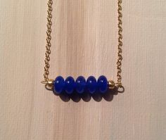 Simply beautiful blue sapphire bead bar necklace by lovelybylara, $20.00