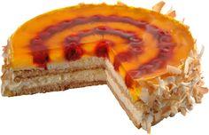 Piňacolada dort Dort s chutí kokosu, ananasu a bílého rumu na lehkém piškotovém korpusu s krémem z mascarpone. Svrchní vrstva z ananasu a malin je překryta želé přelivem a plátky kokosu. Caviar, Rum, Cheesecake, Fish, Meat, Pineapple, Mascarpone, Cheesecake Cake, Cheesecakes