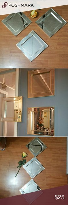 Set of 3 Square Wall Mirrors NWT gold square wall mirrors are a great accent. Measuring a total of 11 inches in diameter. Made of mirror and gold trim to add a luxurious touch to your home Other