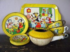 Antique Krazy Kat Tin Litho Tea Set Rare by SongbirdSalvation