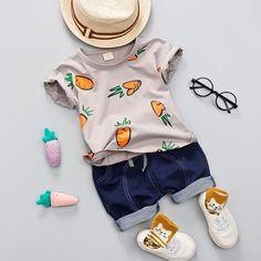 125756cf10 Kid Boy Girl Summer Clothing Set 1 2 3 4 Years Baby Casual Cute Radish Print