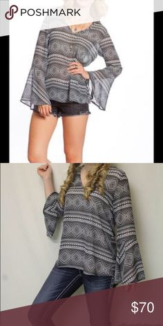 2 TEE COUTURE | AZTEC PRINT TOP BLACK 2 Tee Couture  Aztec Shirt Vneck w/Flare Sleeve 2 Tee Couture  Tops Tees - Long Sleeve