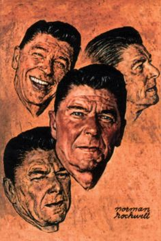 """Reagan gave his famous """"Tear down this wall"""" speech in Two years later in the Berlin Wall was torn down and two years after that, the Soviet Union collapsed. Greatest Presidents, Us Presidents, American Actors, American Artists, Presidential Portraits, Nancy Reagan, President Ronald Reagan, Norman Rockwell, Buy Posters"""