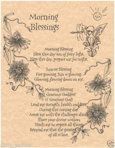 Morning Blessings Book of Shadows Page BOS Pages Wicca Witchcraft Poster