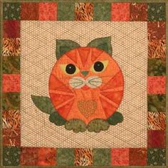 "This is block thirty one of the popular StoryQuilt series, Garden Patch Cats by Helene Knott. The quilt block finishes at 18"" square. Let Helene's Asian Rice Noodle Salad recipe help you ""sprout"" insp"