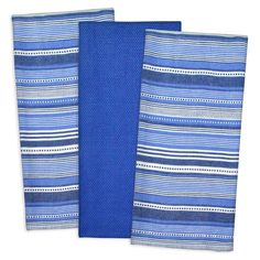 Royal Blue White Set of 3 Urban Stripe Kitchen Cotton 20X30 Dish Towel Set