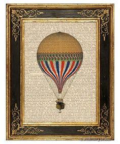 Gelbe Heißluftballon Kunstdruck auf Vintage Buchseite    Vintage Illustration eines Kolibri, gedruckt auf die Seiten eines antiken Buches. Wir such...