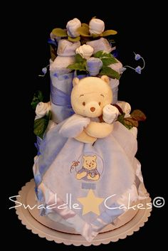 How cute is this....Winnie the Pooh diaper cake.