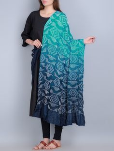 Buy Turquoise Blue Gajji Silk Bandhani Dupatta Accessories Dupattas Blaze Handmade Sarees & Online at Jaypore.com Churidar Designs, Choli Designs, Kurta Designs Women, Blouse Designs, Indian Fashion, New Fashion, Womens Fashion, Recycled Dress, Plaid Coat