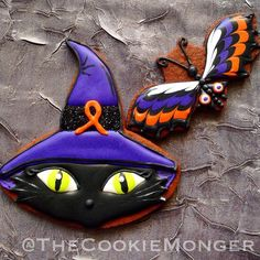 Halloween Butterfly and Cat Cookies // The Cookie Monger