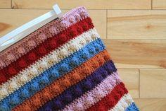 PDF Pattern Hand Crocheted Popcorn Stitch Doll Blanket Afghan for 18 inch Doll or Baby Doll - Striped Doll Bedding