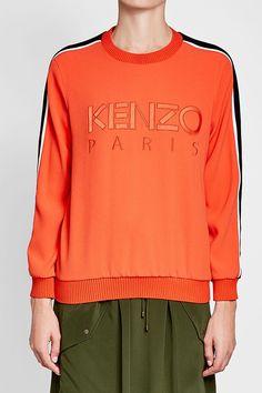 KENZO - Embroidered Sweatshirt | STYLEBOP Orange Style, Orange Fashion, Embroidered Sweatshirts, Kenzo, Graphic Sweatshirt, Sweaters, Shopping, Women, Embroidered Hoodies