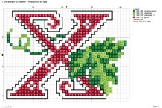 Alfabeto con le foglie: X