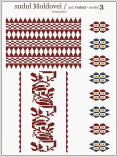 Semne Cusute: model de ie Galati - MOLDOVA Beading Patterns, Embroidery Patterns, Cross Stitch Patterns, Knitting Patterns, Simple Cross Stitch, Moldova, Pixel Art, Tapestry, Traditional
